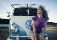 person on vw bus